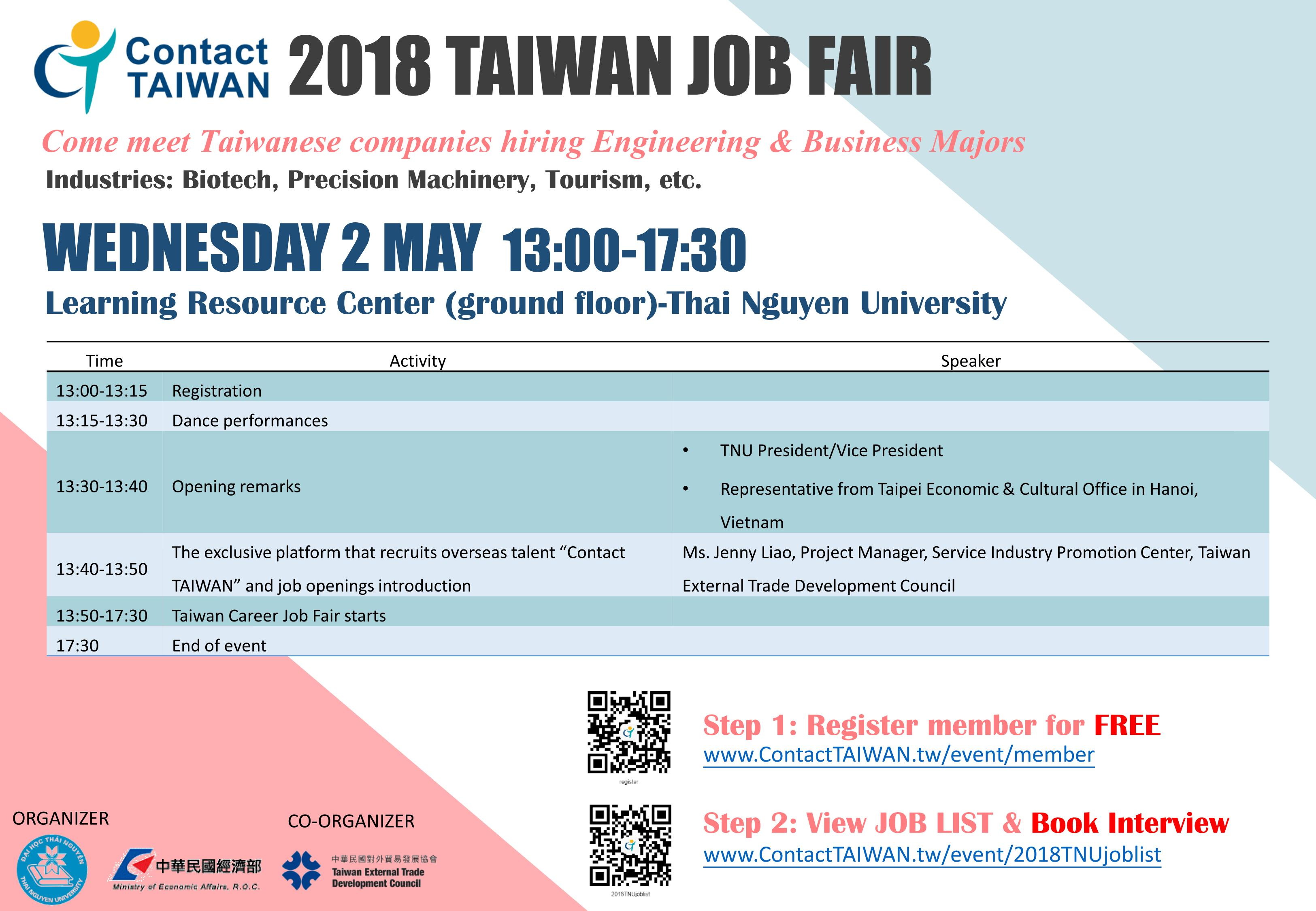 Contact TAIWAN-Talent Recruitment Mission-Event--Information
